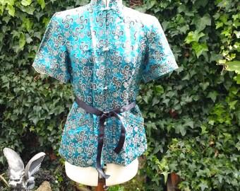 Vintage 1940's blue silk brocade jacket/top/blouse size UK 10/12