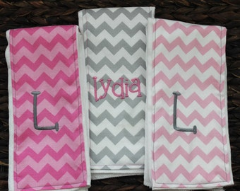 Baby girl gift, pink and gray chevron monogrammed burp cloths, set of personalized customized pink grey chevron burp cloths