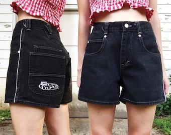Vintage 90s Lee Pipes High Waisted Black Jean Short Grunge Denim Shorts w/ White Athletic Stripes S/M 26