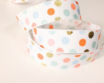 Gold Colorful Dot Ribbon, Colorful Grosgrain 5/8 Inch, Metallic Pattern, Ideal for Baby Nursery Crafts