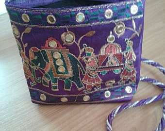 Handmade Purple handbag/purse with zipper (Thai Elephant)