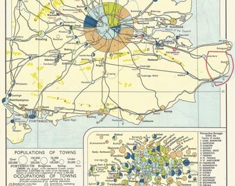 Occupations South East England 1950s old maps home decor Vintage Prints old maps rail map