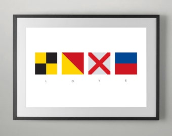 Love, Summer, International Maritime Signals, Alphabet Flags, Poster, Maritime Signal Flag, Typography , Instant Download, Home decor.
