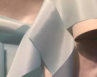 Wide Ribbon, Sky Blue Ribbon, Silk and Rayon Ribbon, Vintage Ribbon, Taffeta Ribbon, Something Blue, Bridal Ribbon