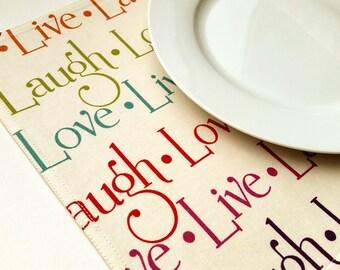 Fabric Placemats - Live Laugh Love Placemats - Set of 4