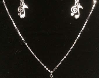 Music notes necklace, music notes earrings, music necklace, music earrings.
