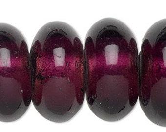Lampwork Bead, Transparent , Dark Purple Bead, Large Rondelle, Large Hole, 25x14mm to 28x15mm, 4 each, D874