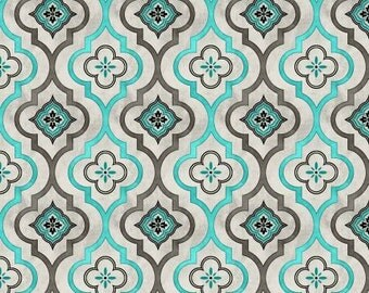 Isabella Fabric Collection - Light Gray Fleur Geometric Fabric by Cynthia Coulter for Wilmington Prints - Sold by the Half Yard