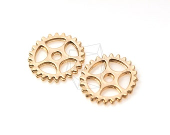 PDT-308-MG/5Pcs-Cogwheel Watch Gear  Pendant/ 15mm x 15mm / Matte Gold Plated over brass