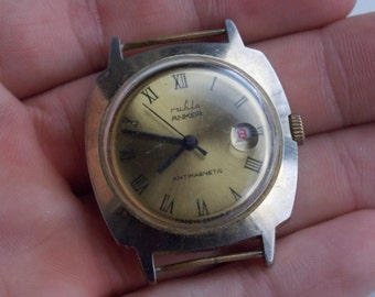 Vintage mechanical Watch , collector , made in germany, old, unique, Ruhla watch, white watch, 1960, gift idea, retro