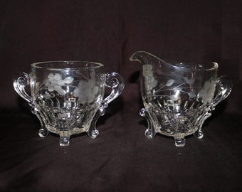 Paden City Glass Co #555 Nerva Pattern Cream & Sugar 4 Footed Floral Etched 1920's