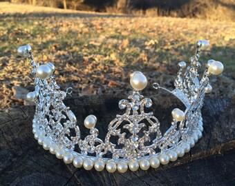 Dramatic Bridal headpiece, Wedding Tiara, Bridal headband, Rhinestone Bridal headband.