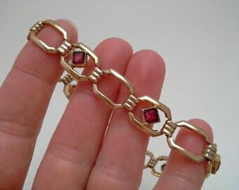 RF Simmons Bracelet, Red Paste Bracelet, Red Stone Bracelet, Art Deco Bracelet, Simmons Jewelry, Art Deco Jewelry, Gold Filled Bracelet