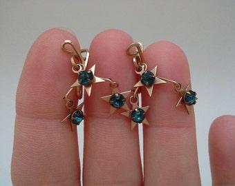 Vintage Star Earrings, Slide On Earrings, Slip On Earrings, Star Dangle Earrings, Blue Star Earrings, Aqua Star Earrings, Rhinestone Star