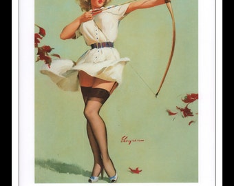 "Gil Elvgren Vintage Pinup Illustration ""Aiming High 1961"" Sexy Pinup Mature Wall Art Deco Book Print 9 3/4"" x 14"""