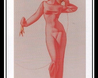 "George Petty Vintage Pinup Illustration Sexy Pinup Wall Art Deco Book Print Small 6.5"" x 4"""