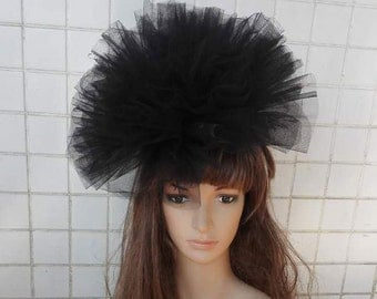 Hand-crafted tulle fascinator hat  # HWW16002
