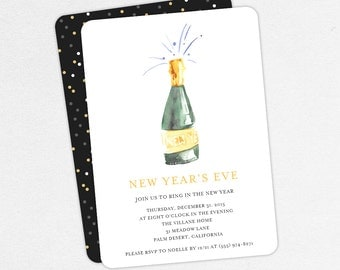 New Year's Eve Party Invitations, Holiday Party Invitations, Champagne Invitations, New Years Invitations, Printable New Years Invitations