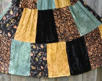 22.  Boho, hippie patch skirt