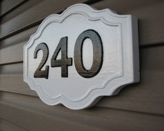 Wood Carved Address Marker, House Number, Painted House Number Sign