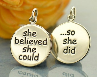 Sterling Silver, Message Pendant, She Believed, She Could, So She Did, Quote Charm, Message Charm, Word Charm, Inspirational Charm