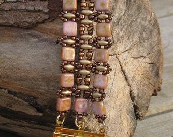 "Bracelet ""Victoria"" pink gold/topaz bronze / artisan québécois"