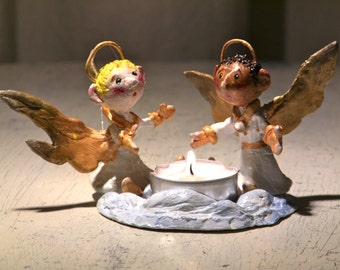 Handmade cute candle holder with two little angels