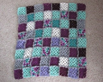 "Purple and Green Granny Square Afghan (32""x32"")"