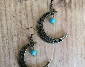Moon Earrings,  Bronze Turquoise Earrings, Turquoise Jewellery, Crescent Earrings, Boho, Bohemian, Gypsy