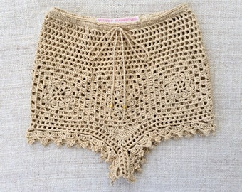 Bohemian High Waist crochet BALI PANT/ SHORTS. Hot Pant/ Knicker. One of a Kind. Ready to Ship. Size Extra Small/ Small. Hand Crochet Lace.