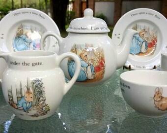 Wedgwood Peter Rabbit  children's 10 piece tes set, Beatrix Potter, Wedgwood child's tea set miniature China set