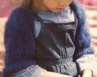 Girls Fluffy Shrug (age 4 - 16 years) Knitting Pattern