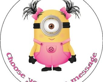 despicable me pink minion girl pre cut large round edible icing sugar fondant topper or ribbon for birthday cake cupcakes or cookies
