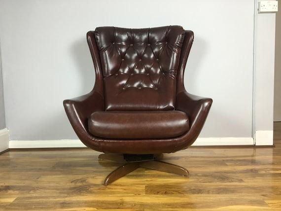 Stunning retro vinyl swivel armchair egg chair 60s 70s retro for Vintage 70s chair