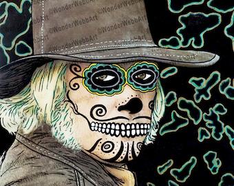 5x5 el enterrador (The Gravedigger) Sugar Skull Day of the Dead Dia De Los Muertos Art Print