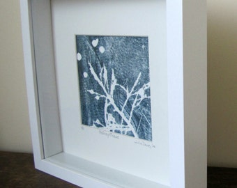 Original Abstract Printwork, Framed Blue Art, Botanical, Nature Printwork, 10 x 10 inches, Photosynthesis Printwork, Abstract Printwork