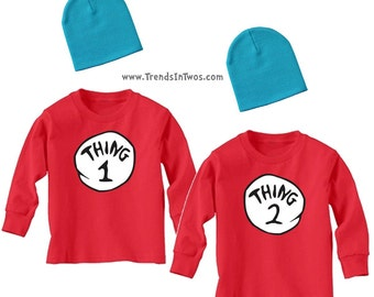 Thing 1 & Thing 2 Long Sleeve Red Shirts and Blue Hats Dress Up/Play Set for Toddlers