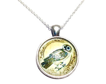 Desert Owl Glass Cabochon Pendant Necklace on a Sterling Silver 18inch chain