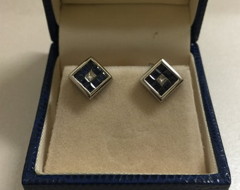 Sapphire and Diamond Stud Earrings in White Gold