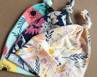 Set of 3 top knot baby hats / girls floral print hats / top knot hat set / cute baby hats