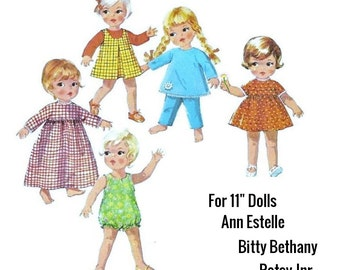 "Vintage PDF Easy Sewing Pattern to make a Wardrobe of Clothes for a 11""  Dolls Ann Estelle Bitty Bethany Patsy Junior A Digital Download"