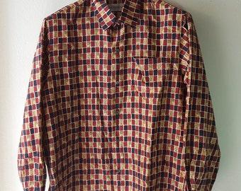 Vintage 1980's/1990's,Jim Thompson Elephant , Coconut tree print Shirt ,Size M, Thai Silk Shirt,