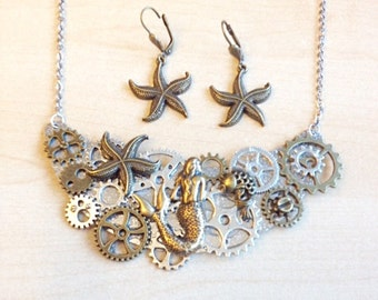 Steampunk mermaid jewelry set with metal  cogs and gears