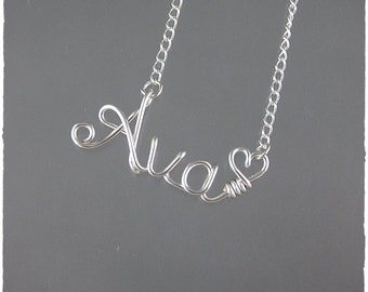 Ava Wire Word Name Pendant Necklace