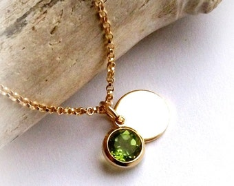 Peridot Charm Bezel AUGUST BIRTHSTONE - On Gold Filled Chain With Gold filled Disc Tag - Gift For Her