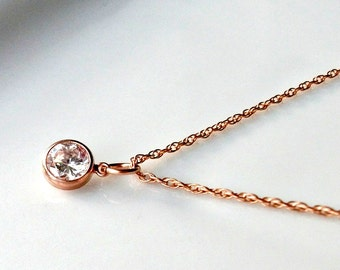Solitaire Rose Gold Cubic Zirconia Crystal Necklace