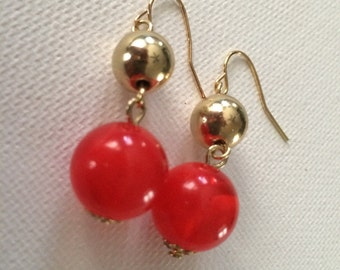 gold cherry drop earrings