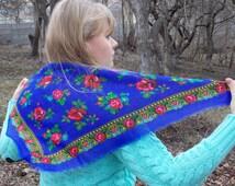Retro scarf shawl Ukrainian scarf Russian scarf Floral head scarf Ethnic ukraine rare Russian Vintage Russian Babushka