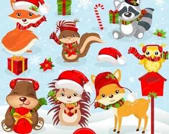 80% OFF SALE Christmas woodland animals clipart commercial use, christmas clipart, forest animals, woodland animals - CA225