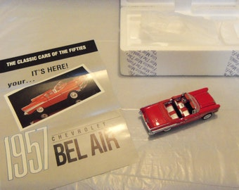Vintage 1:43 Scale Franklin Mint Precision Model Classic Cars Of The Fifties 1957 Chevrolet Bel Air Collectible Model Cars